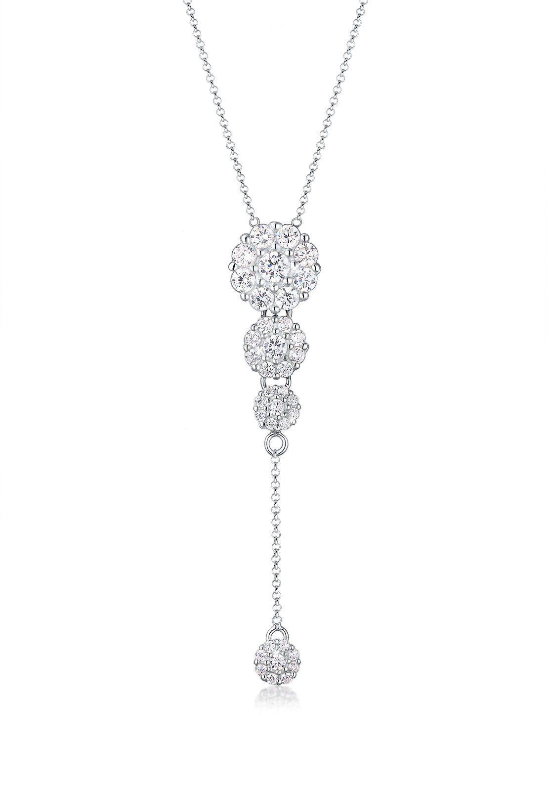 Elli Collierkettchen »Y-Kette Zirkonia Kristalle 925 Sterling Silber«