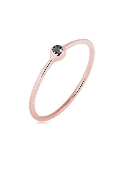 Elli Diamantring »Solitär Schwarzer Diamant (0.03 ct) 750 Roségold«