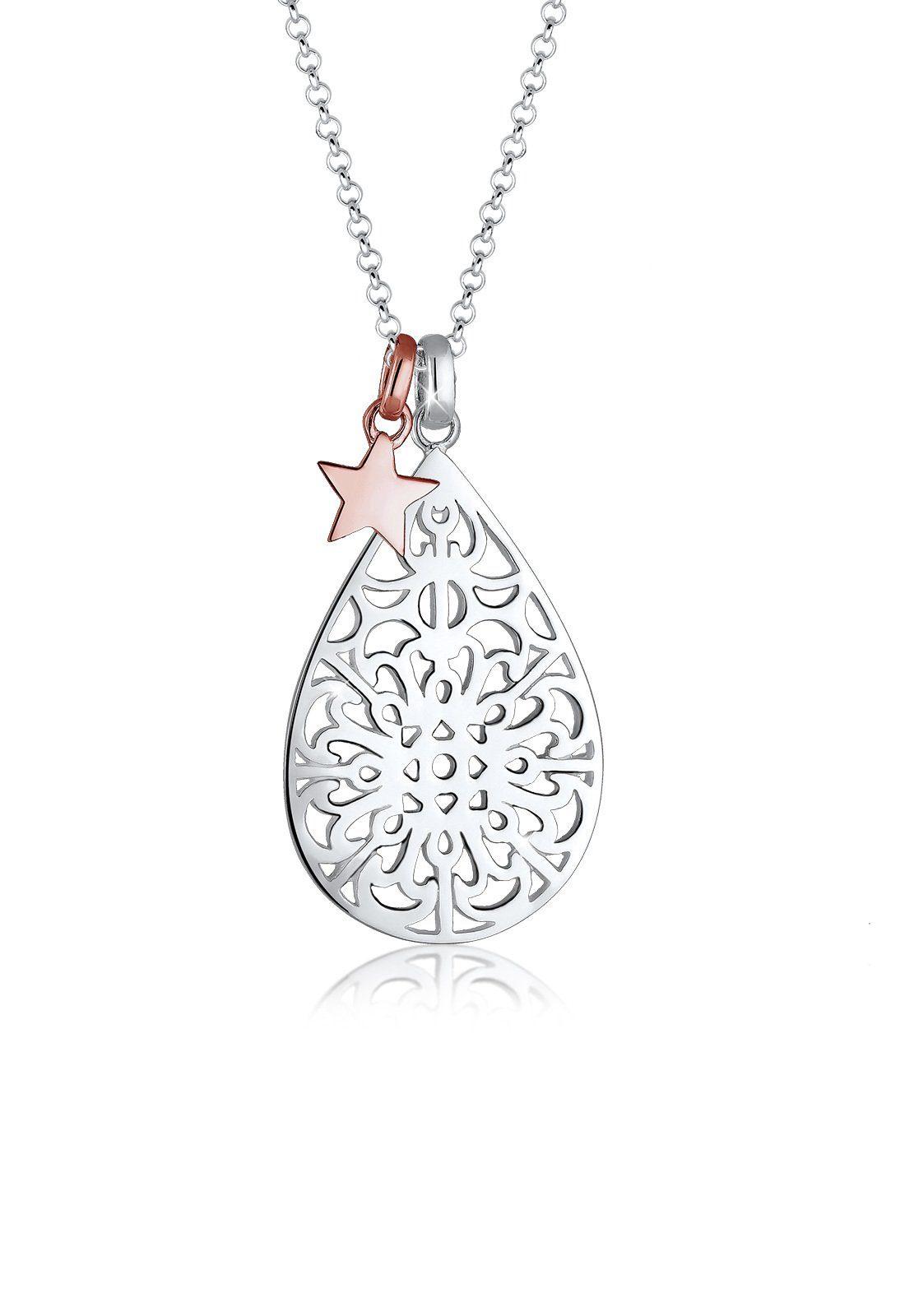 Elli Collierkettchen »Ornament Stern Astro Bi-Color 925 Sterling Silber«