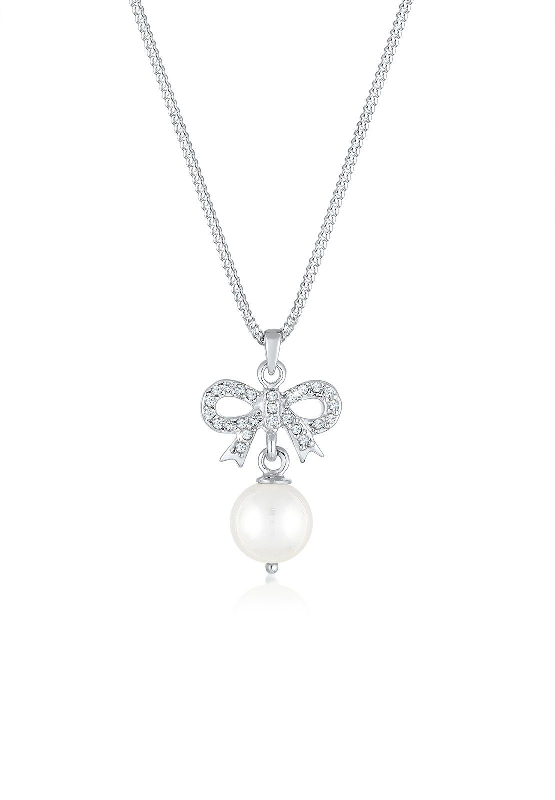 Elli Perlenkette »Schleife Perle Swarovski® Kristalle 925 Silber«