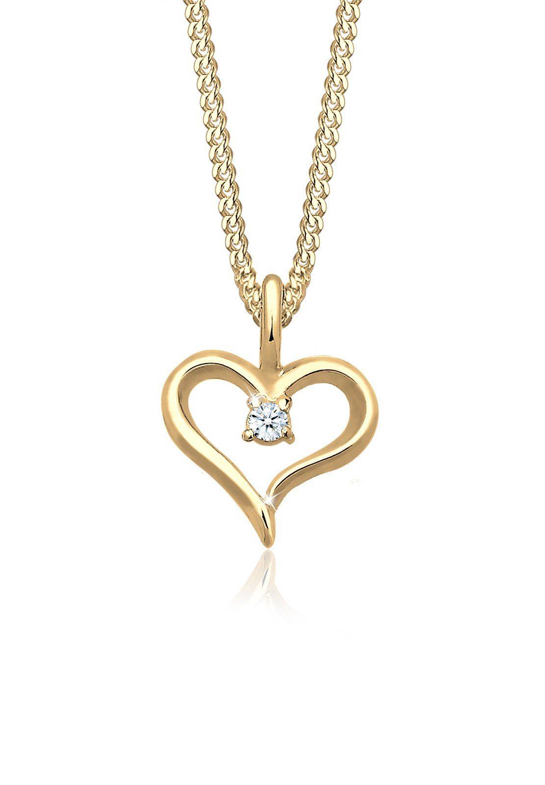Diamore Collierkettchen »Herz Zart Diamant (0.02 ct) 585 Gelbgold«