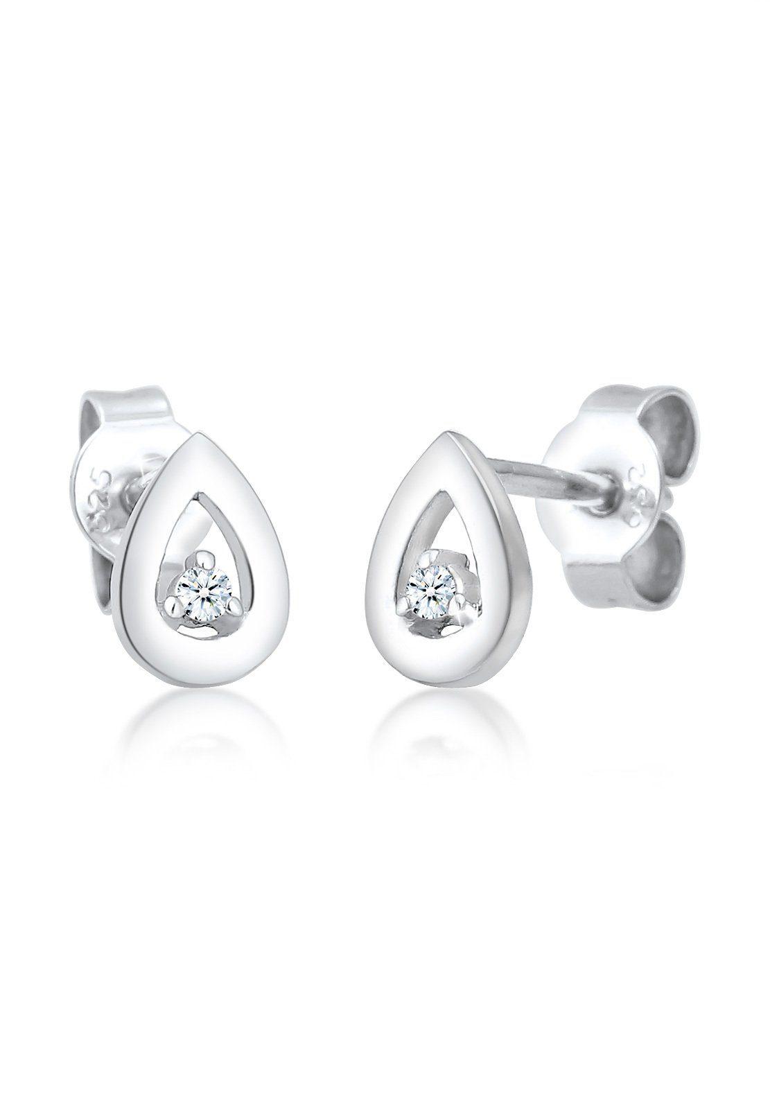 Elli Ohrringe »Tropfen Drop Diamant (0.04 ct.) 925 Silber«