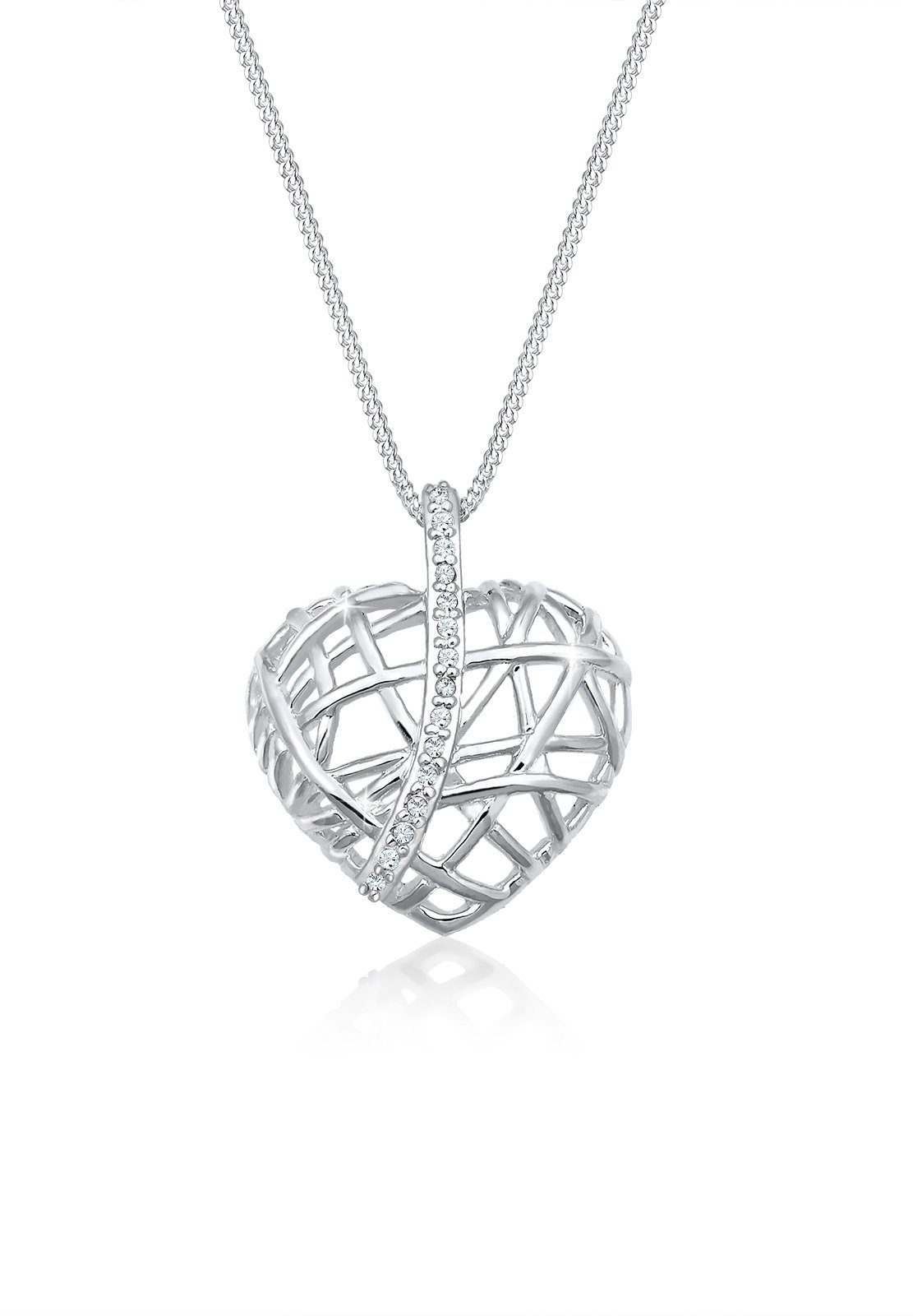Elli Collierkettchen »Herz Geo Swarovski® Kristalle 925 Silber«