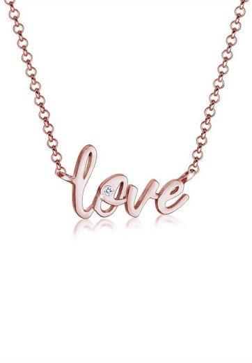 Elli Collierkettchen »Love Liebe Wording Swarovski® Kristalle 925 Silber«