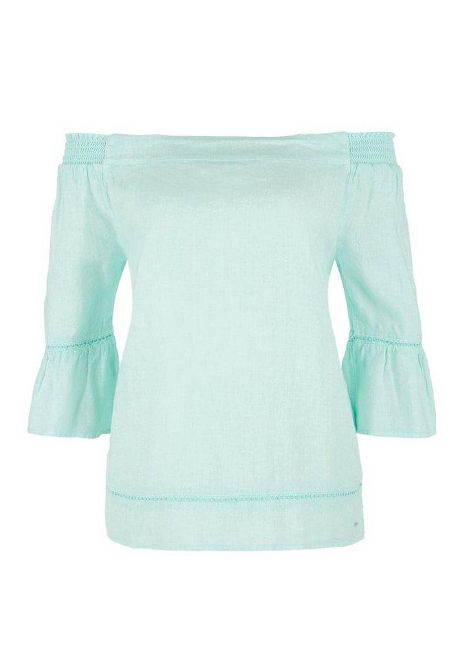 Damen s.Oliver RED LABEL Off Shoulder-Bluse aus Leinen grün | 04059998526784