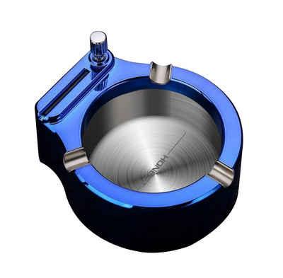 H-basics Aschenbecher »2-in-1 Aschenbecher mit Feuerzeug – Edelstahl Aschenbecher mit integriertem Feuerzeug und 3 Zigaretten-Ablagen«