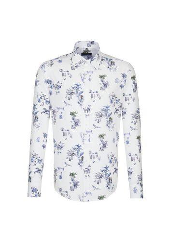 Herren seidensticker Businesshemd Tailored Covered-Button-Down-Kragen blau   04048869468667