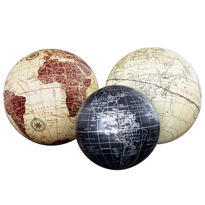 Loberon Deko-Kugeln 3er Set »World«