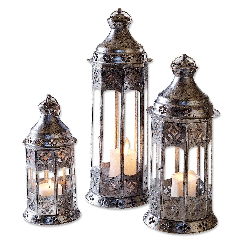 Loberon Laterne 3er Set »Aylin« | Dekoration > Kerzen und Kerzenständer > Laternen | Muster | Glas | Loberon