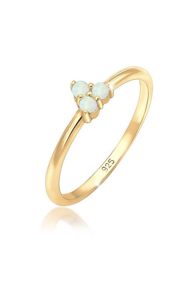 Elli Fingerring »Bandring Opal Kreis Geo Trio Trend 925er Silber« | Schmuck > Ringe > Fingerringe | Goldfarben | Elli
