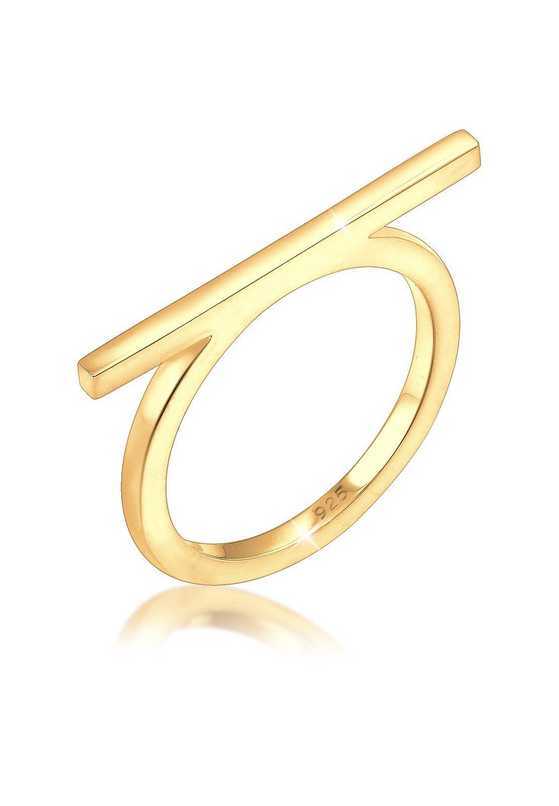 Elli Fingerring »Geo Minimal Blogger Trend Edgy 925 Sterling Silber« | Schmuck > Ringe > Fingerringe | Goldfarben | Elli