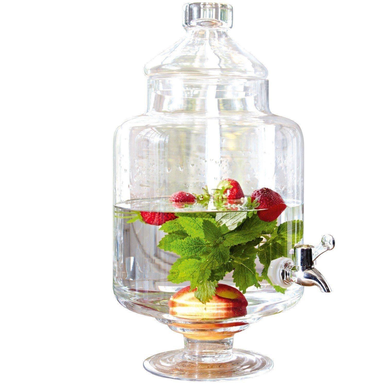 Loberon Getränkespender »Cassis« | Küche und Esszimmer > Besteck und Geschirr > Karaffen | Glas - Kunststoff - Verchromt | Loberon