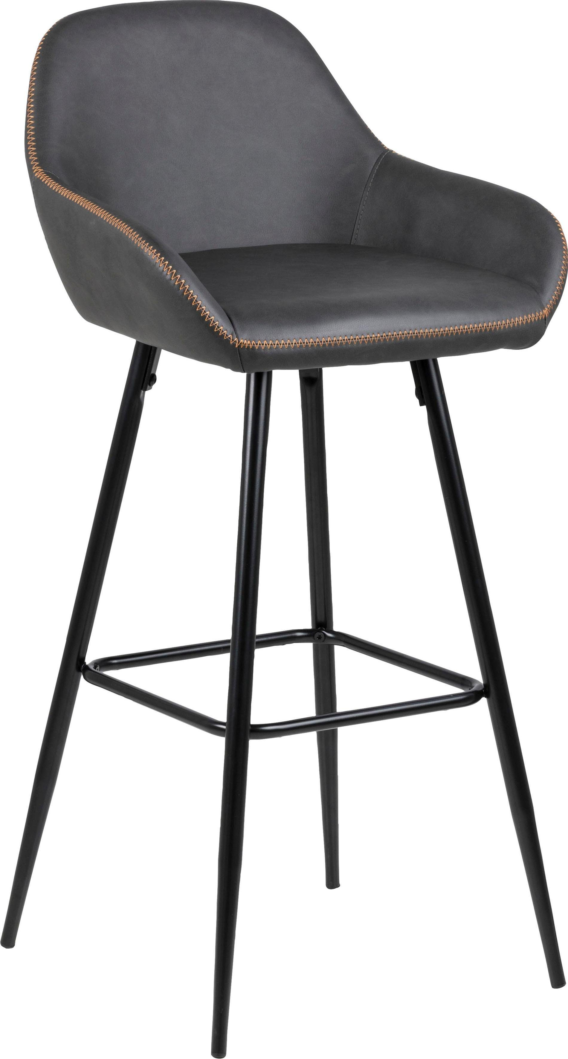 andas 2er-Barhockerset »Carla« mit schönem Metallgestell und bequemer Sitzpolsterung aus pflegeleichten Kunstleder, Sitzhöhe 76,5 cm