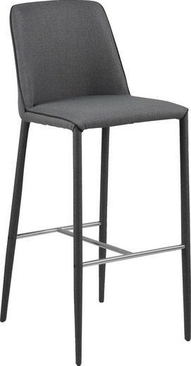 andas Barhocker »Anna« Metallgestell mit schwarzem Stoff bezogen, Sitzpolsterung aus pflegeleichten Webstoff und schwarzem Kunstleder Keder