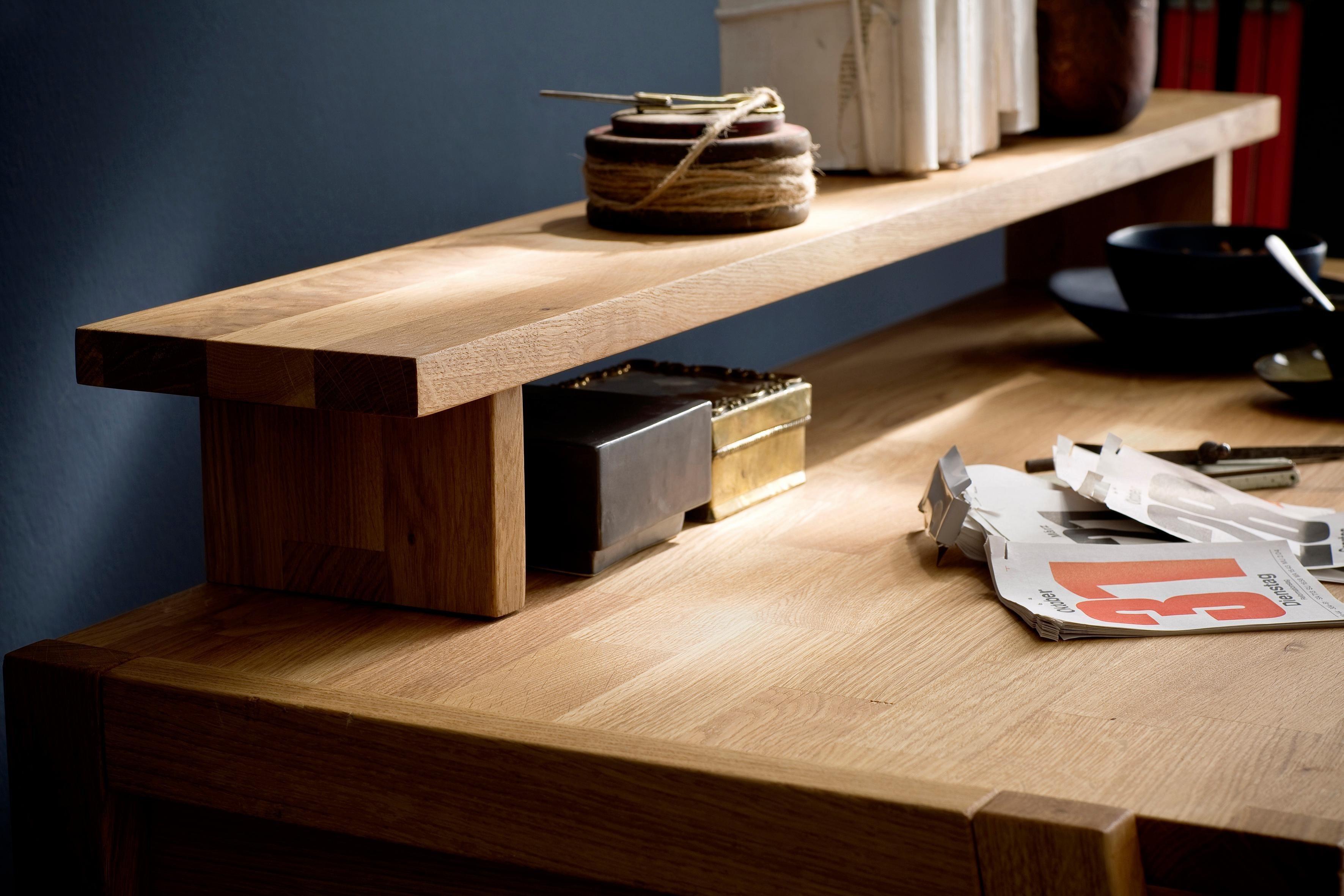 Aufsatz für Schreibtisch »Dura« aus massiver Wildeiche, passend für den Dura Schreibtisch
