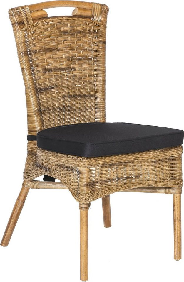 SIT Stuhl Rattan Vintage mit Kissen Sitzhöhe ca 50 cm