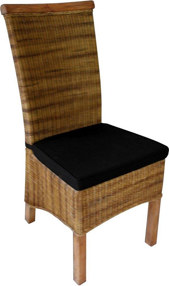SIT Stuhl Rattan Vintage Mit Kissen Gestell Aus