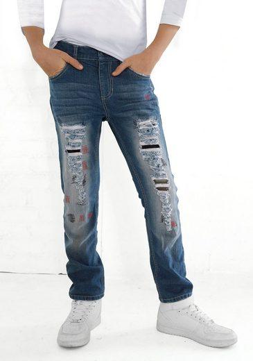 Arizona Destroyed-Jeans regular fit mit geradem Bein und ausgefransten und unterlegten Löchern