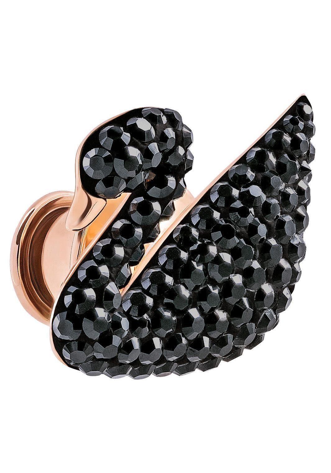 Swarovski Brosche »Schwan, Iconic Swan Pin, schwarz, rosé Vergoldung, 5439869« (Set) mit Swarovsi® Kristallen