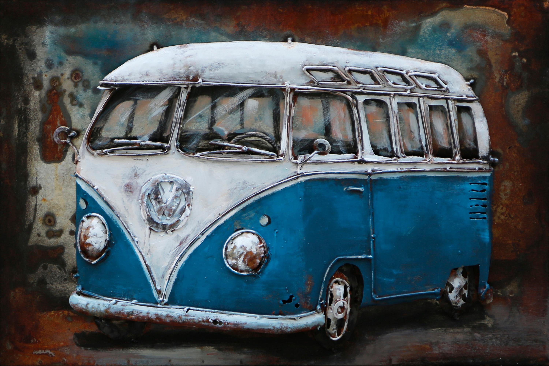 The Wood Times 3D-Metallbild »Bus blau«