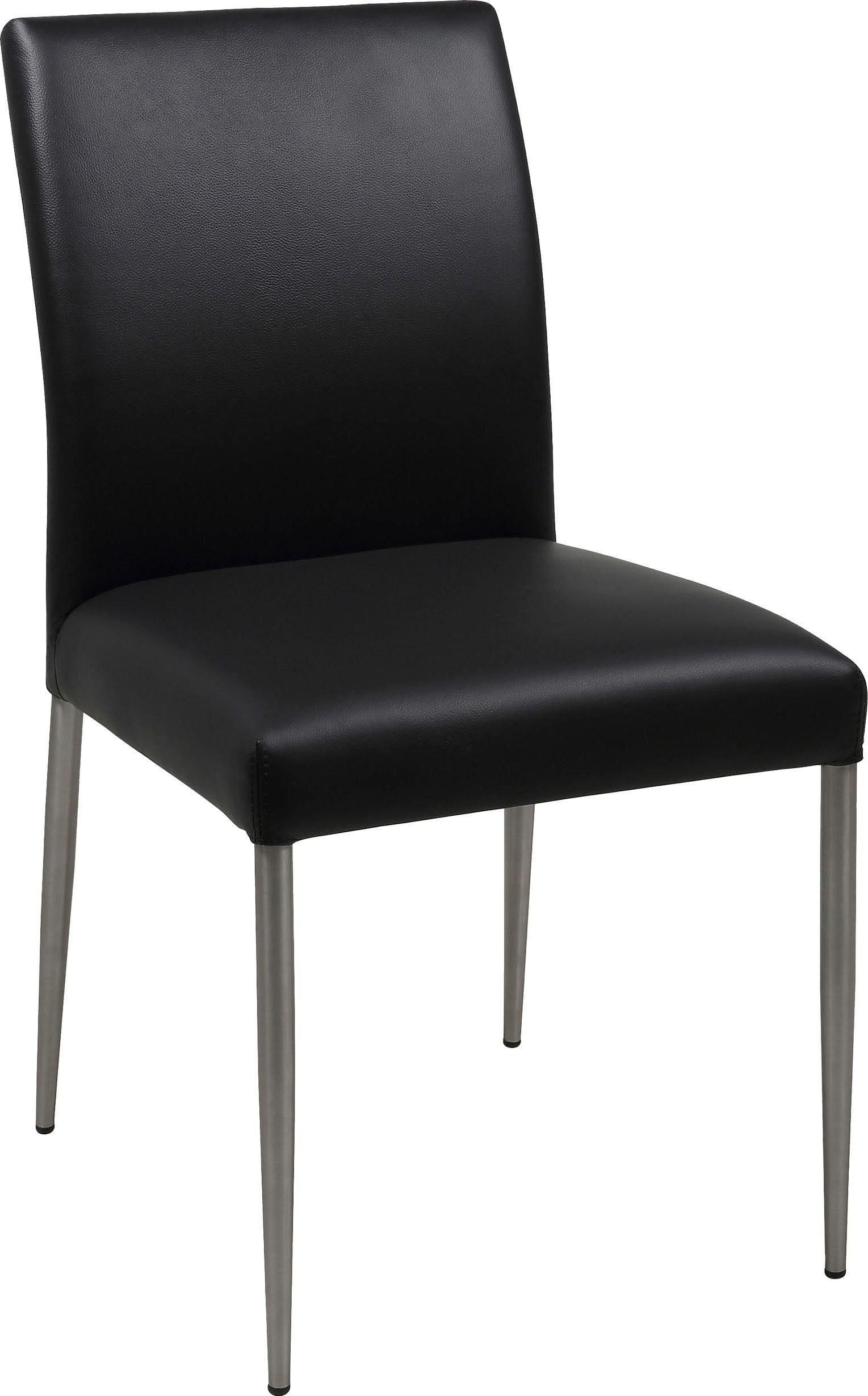 andas 2er Esszimmerstuhl Set »Sina« schönes Metallgestell und bequemer Sitzpolsterung aus pflegeleichten Naturleder, Sitzhöhe 48,5 cm