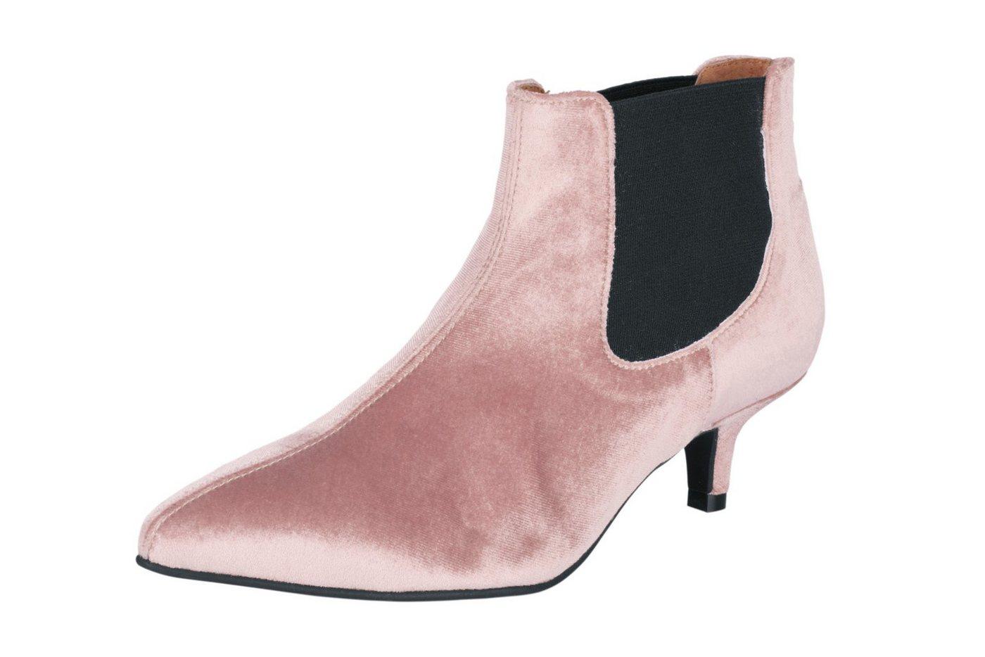 Damen heine  Stiefelette in Samtoptik rosa | 05608377114549