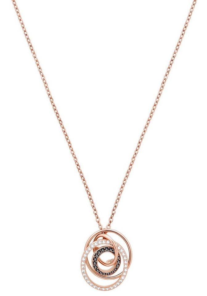 Swarovski Kette mit Anhänger »Greeting Ring Anhänger, schwarz, rosé Vergoldung, 5394969« mit Swarovski® Kristallen | Schmuck > Halsketten > Ketten mit Anhänger | Schwarz | Swarovski