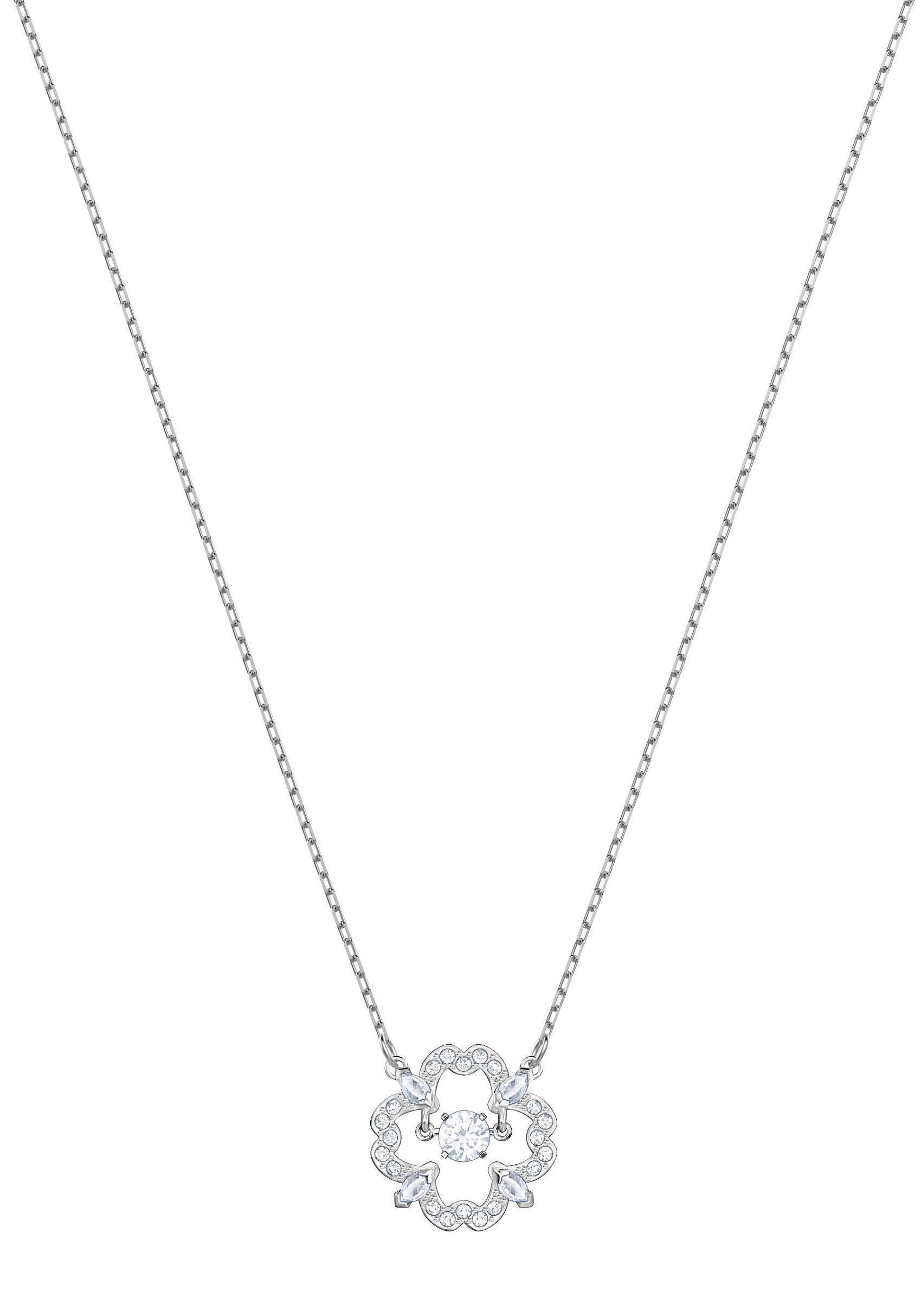 Swarovski Kette mit Anhänger »Sparkling Dance Flower Halskette, weiss, rhodiniert, 5392759« mit Swarovski® Kristallen