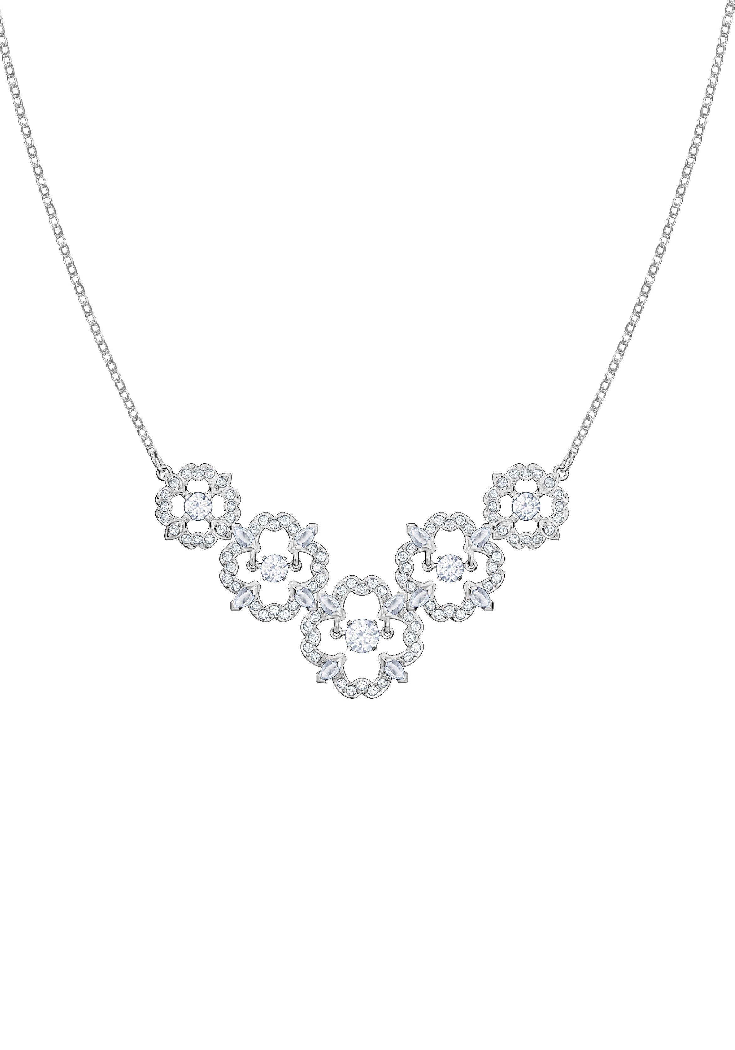 Swarovski Kette mit Anhänger »Sparkling Dance Flower Halskette, mittel, weiss, rhodiniert, 5397240« mit Swarovski® Kristallen