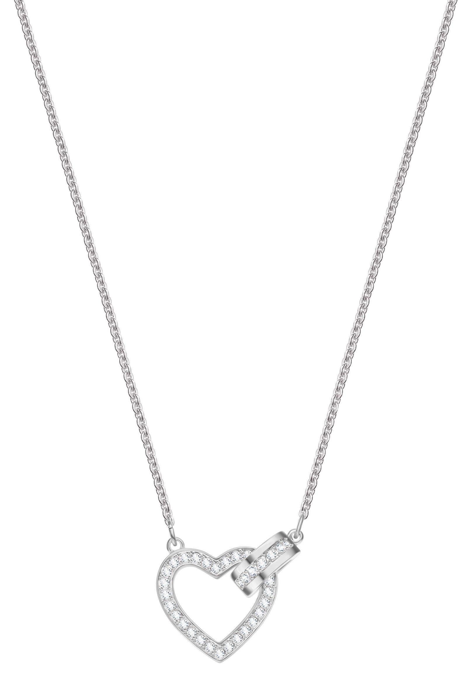 Swarovski Herzkette »Lovely Halskette, weiss, rhodiniert, 5380703«, mit Swarovski® Kristallen