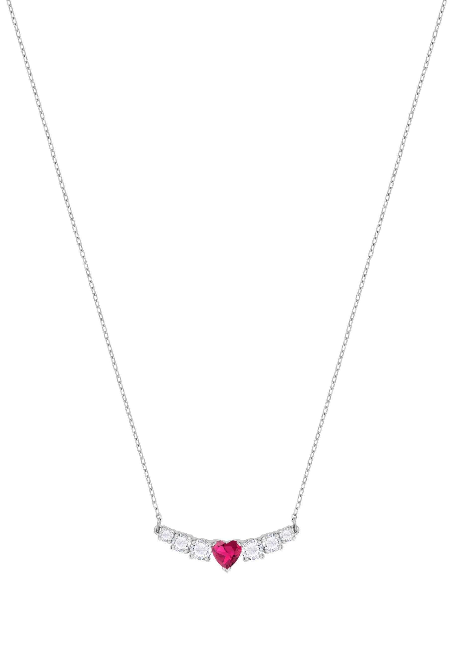 Swarovski Kette mit Anhänger »Herz, Love Halskette, weiss, rhodiniert, 5408434« mit Swarovski® Kristallen