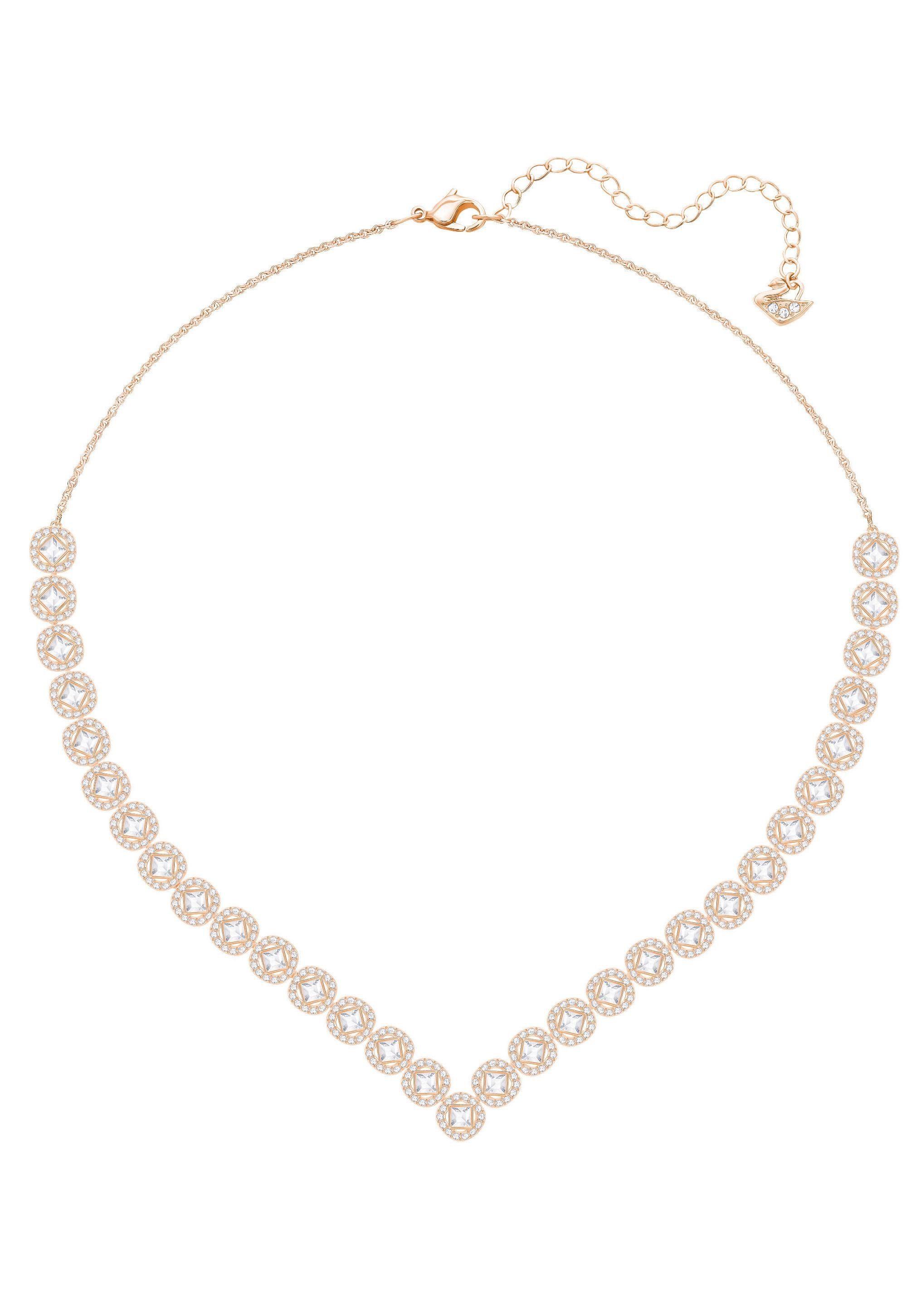 Swarovski Collier »Angelic Square Halskette, groß, weiss, rosé vergoldung, 5351308« mit Swarovski® Kristallen