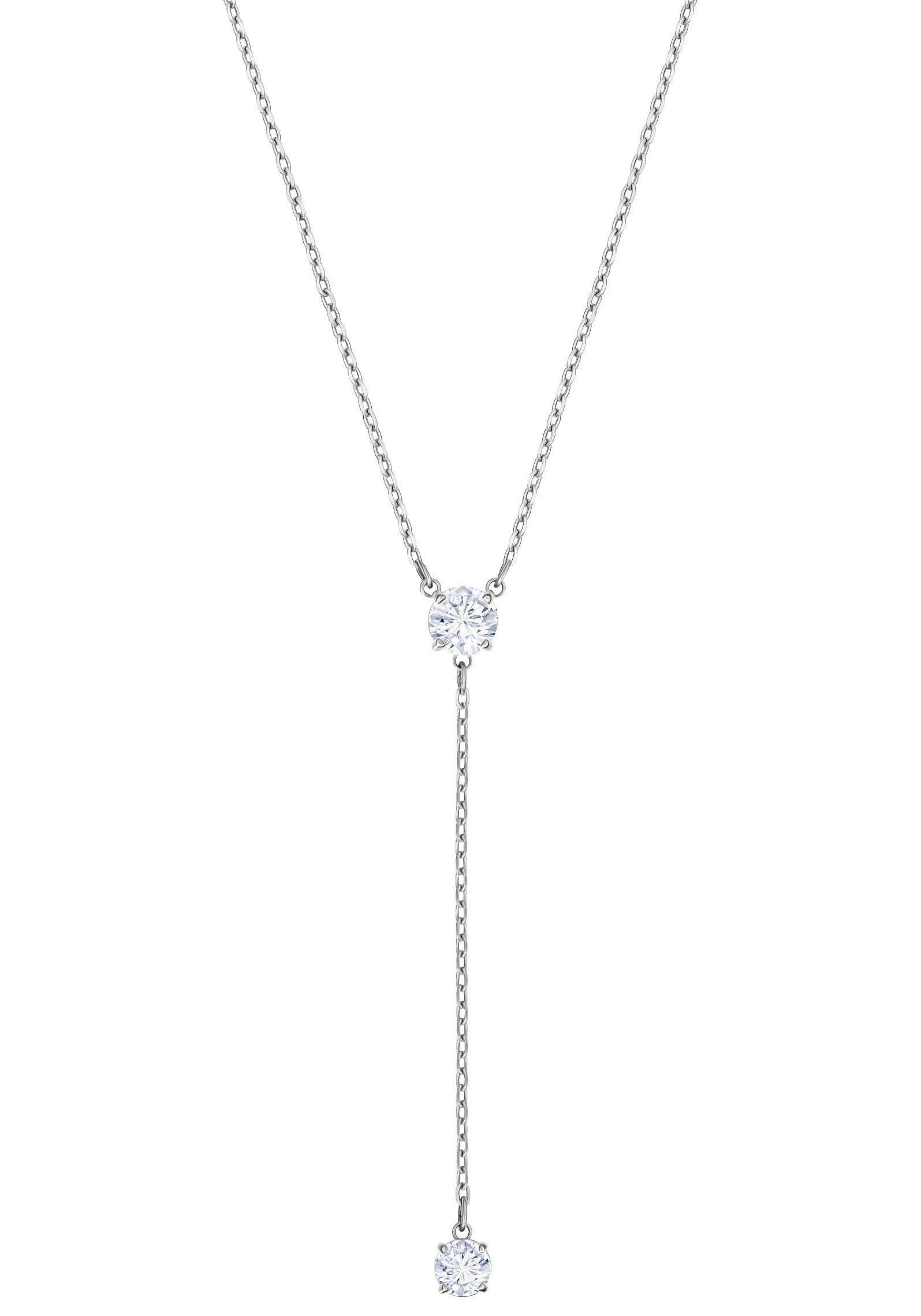 Swarovski Kette mit Anhänger »Attract Y-Halskette, weiss, rhodiniert, 5367969« mit Swarovski® Kristallen
