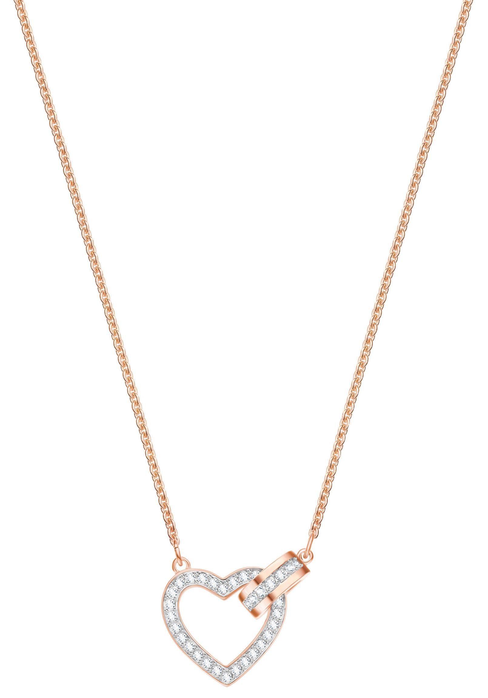 Swarovski Herzkette »Lovely Halskette, weiss, rosé Vergoldung, 5368540« mit Swarovski® Kristallen