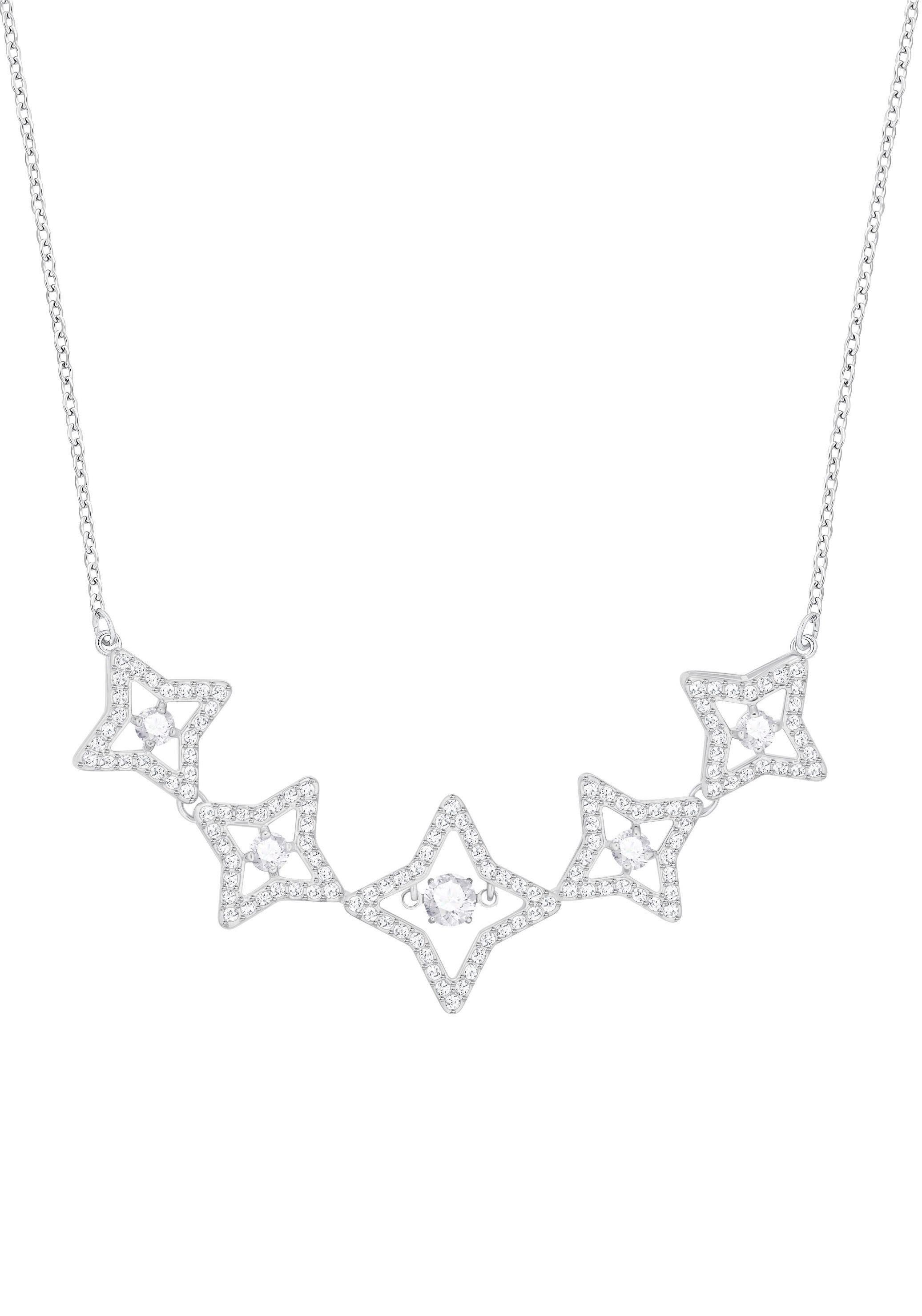 Swarovski Kette mit Anhänger »Sparkling Dance Star Halskette, mittel, weiss, rhodiniert, 5349663« mit Swarovski® Kristallen
