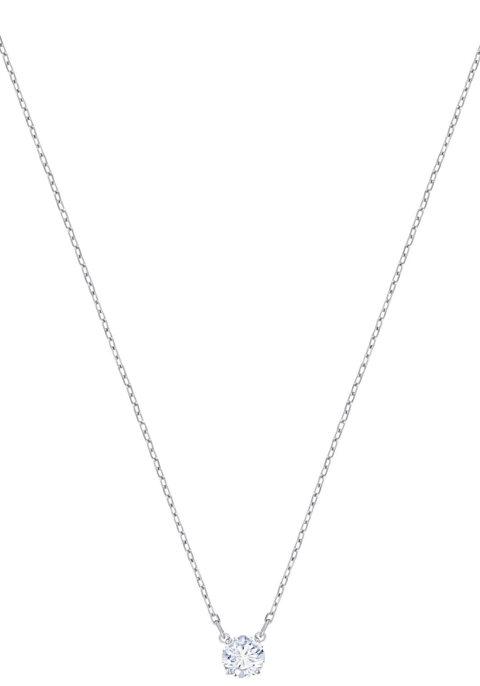 Swarovski Kette mit Anhänger »Attract Round Halskette, weiss, rhodiniert, 5408442« mit Swarovski® Kristall