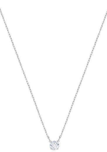 Swarovski Kette mit Anhänger »Attract Round, weiss, rhodiniert, 5408442«, mit Swarovski® Kristall