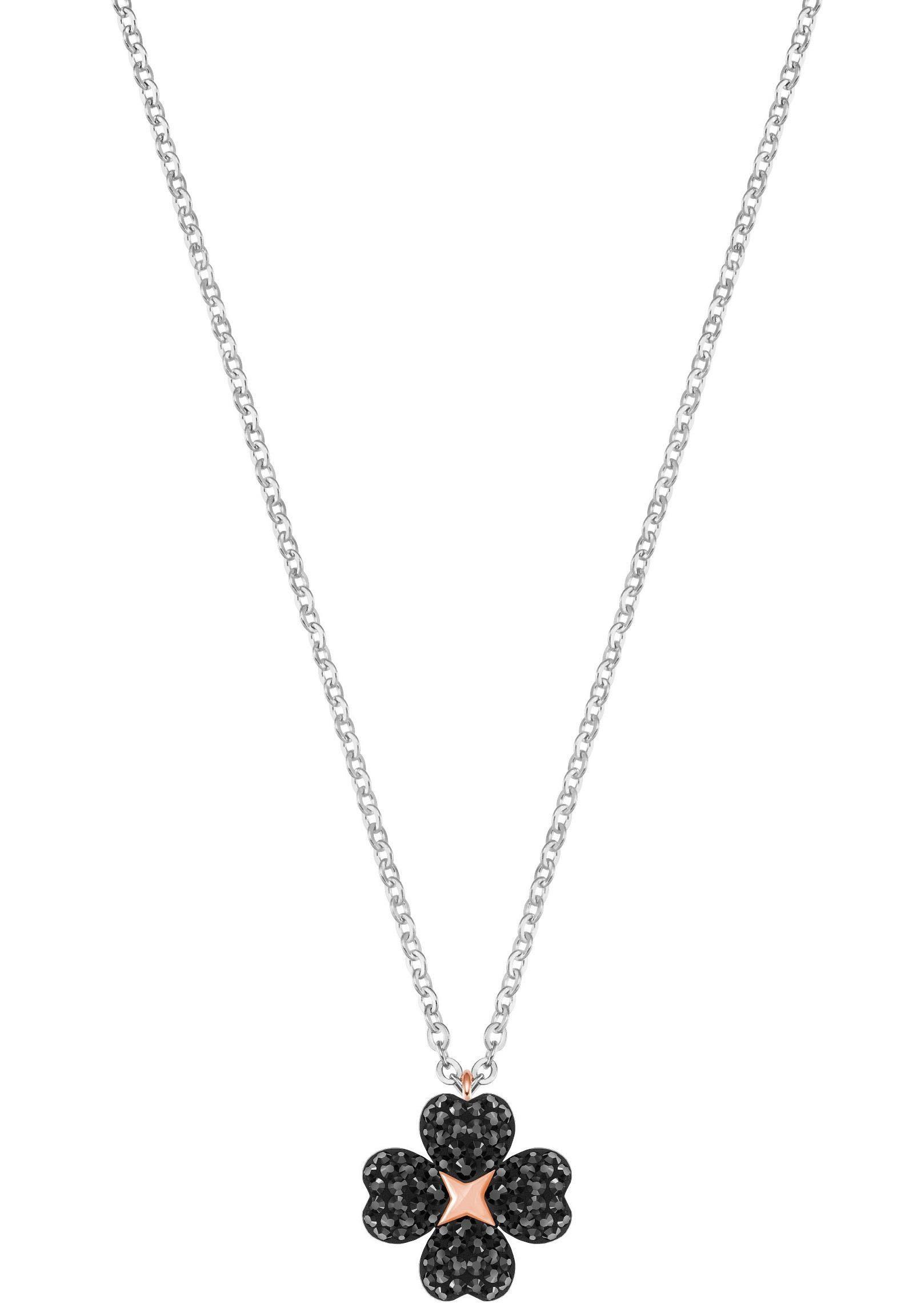Swarovski Kette mit Anhänger »Kleeblatt, Herzen, Latisha Flower Anhänger, schwarz, rhodiniert, 5368980« mit Swarovski® Kristallen