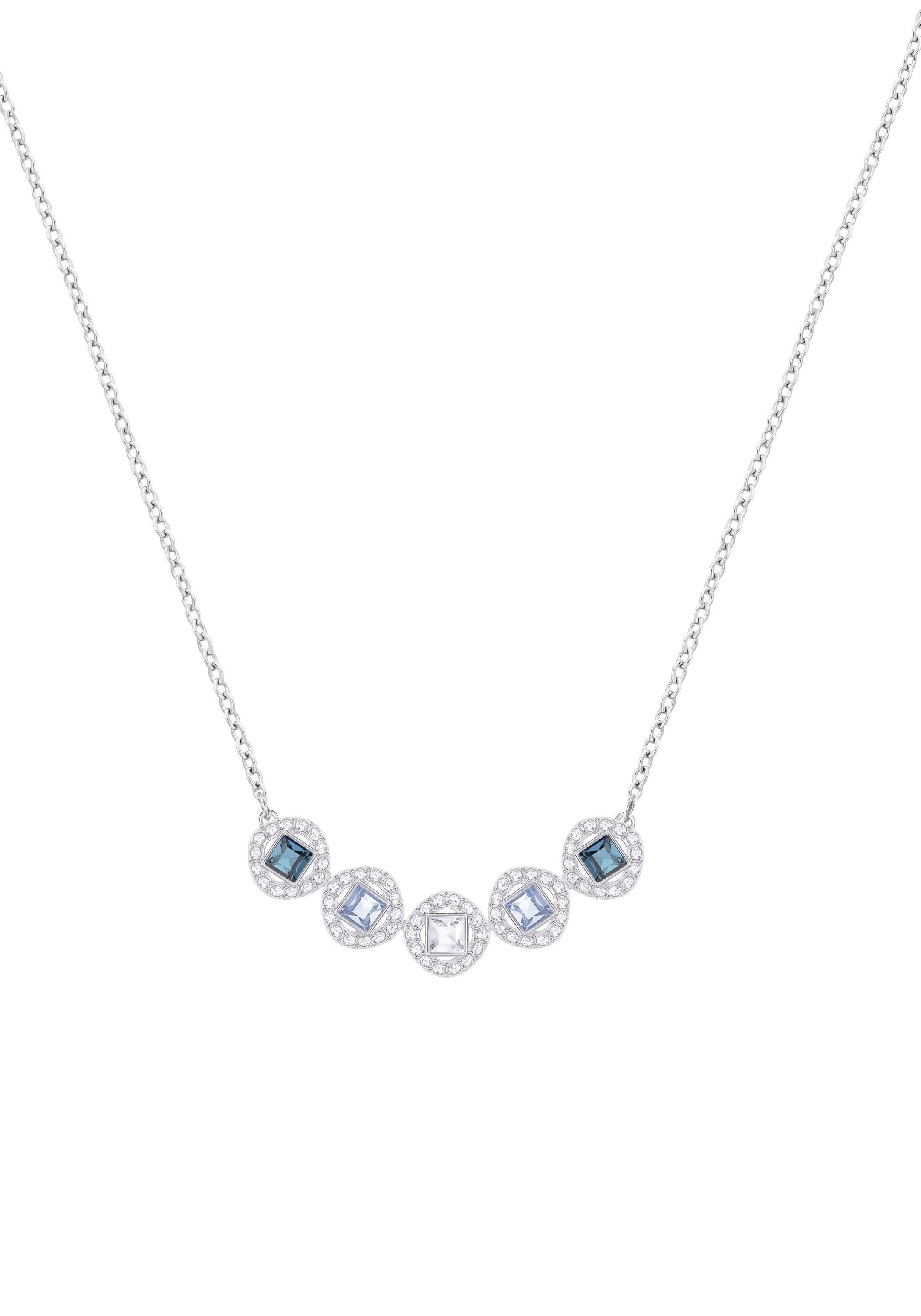 Swarovski Kette mit Anhänger »Angelic Square Halskette, blau, rhodiniert, 5294622« mit Swarovski® Kristallen