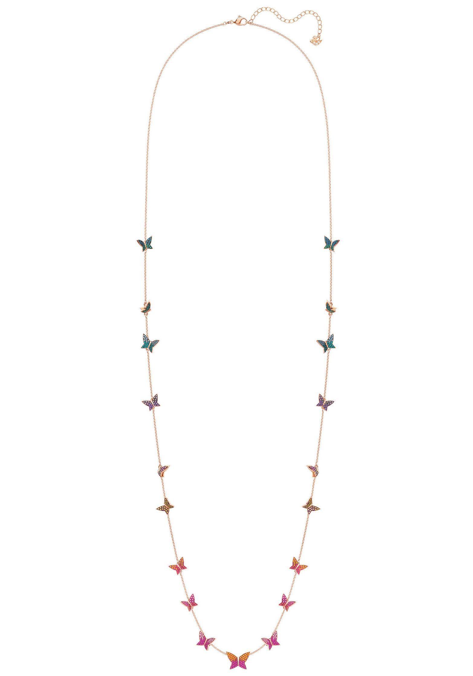Swarovski Kette mit Anhänger »Schmetterlinge, Lilia Matinée-Kette, mehrfarbig, rosé Vergoldung, 5374335«, mit Swarovski® Kristallen