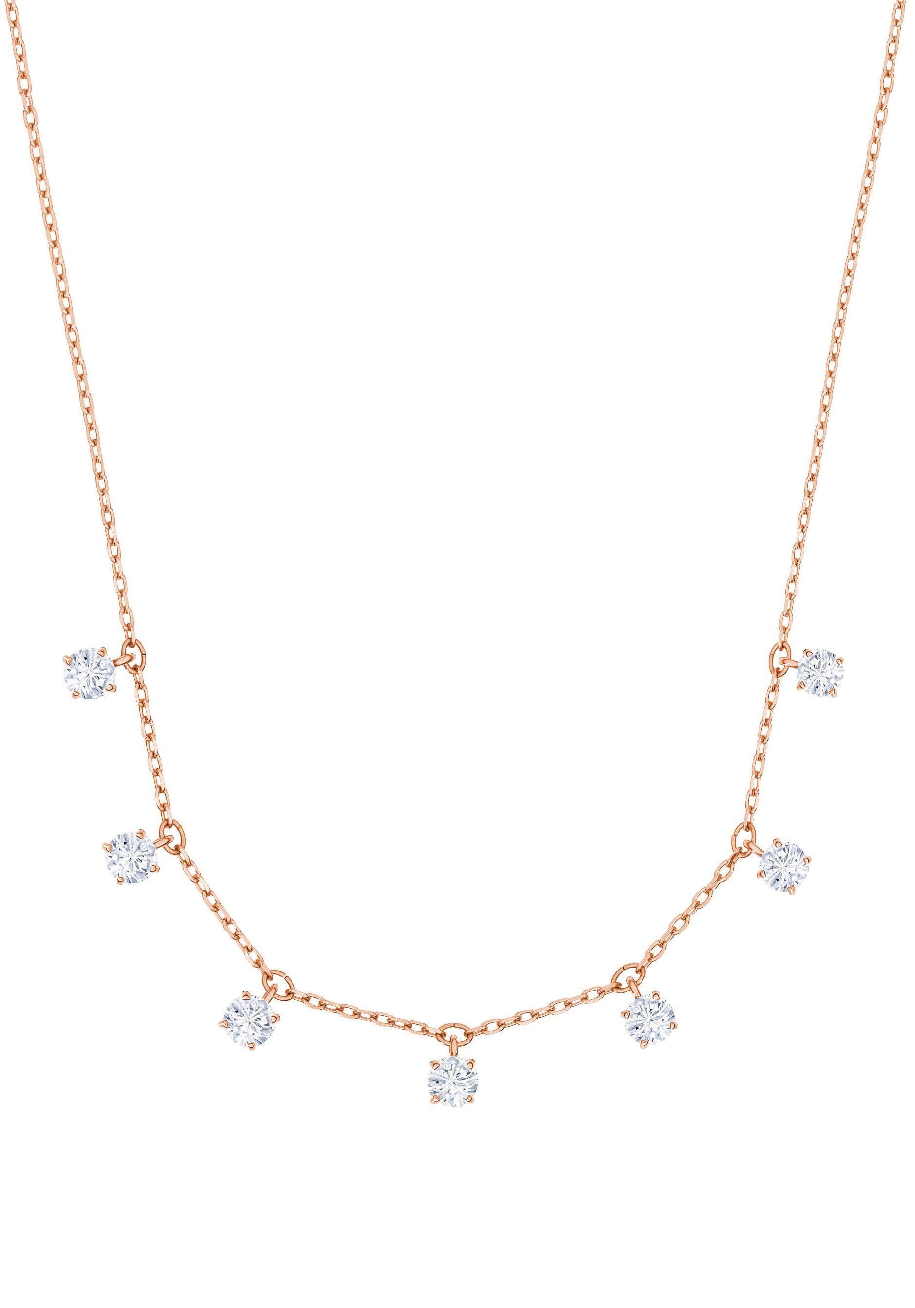 Swarovski Kette mit Anhänger »Attract Halsband, weiss, rosé Vergoldung, 5380061« mit Swarovski® Kristallen