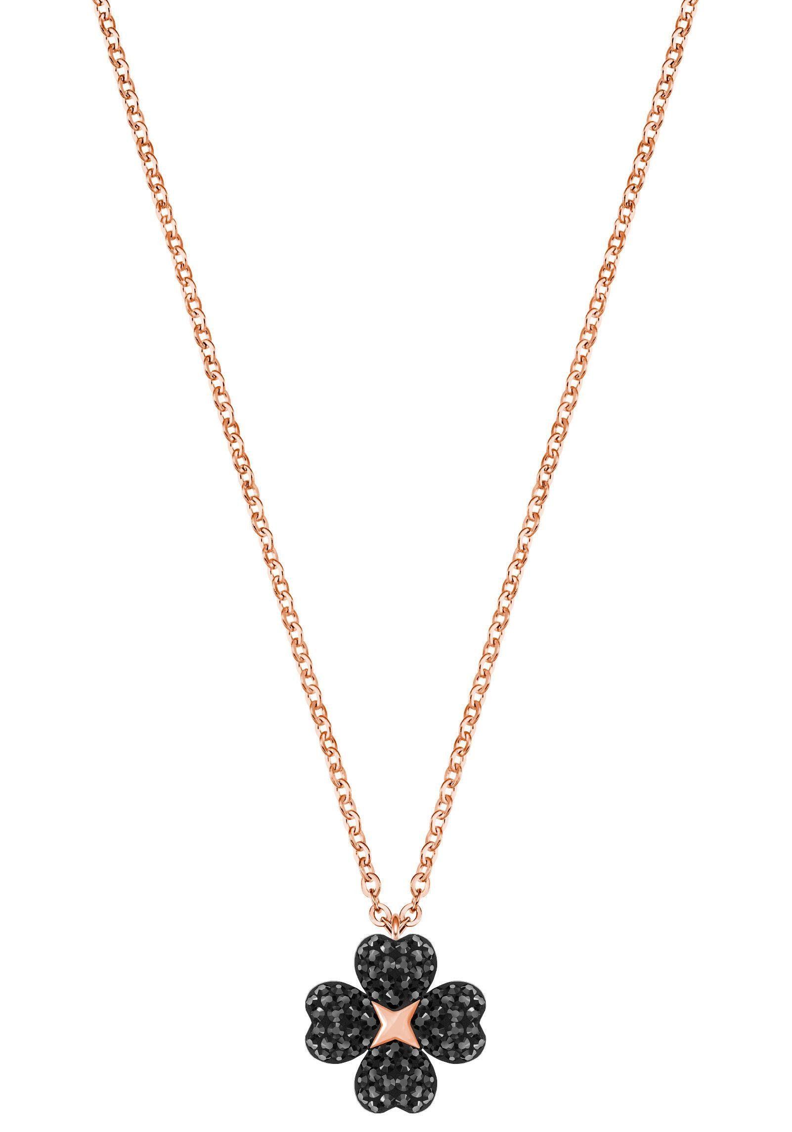 Swarovski Kette mit Anhänger »Kleeblatt, Herzen, Latisha Flower Anhänger, schwarz, rosé Vergoldung, 5420246« mit Swarovski® Kristallen