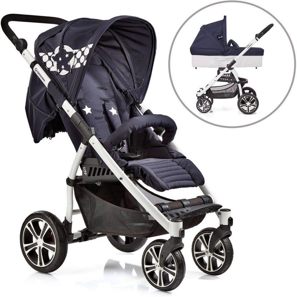 Gesslein Kombi Kinderwagen,  S4 Air+, Weiß/Blau & Babywanne C3 Stars Blau  online kaufen