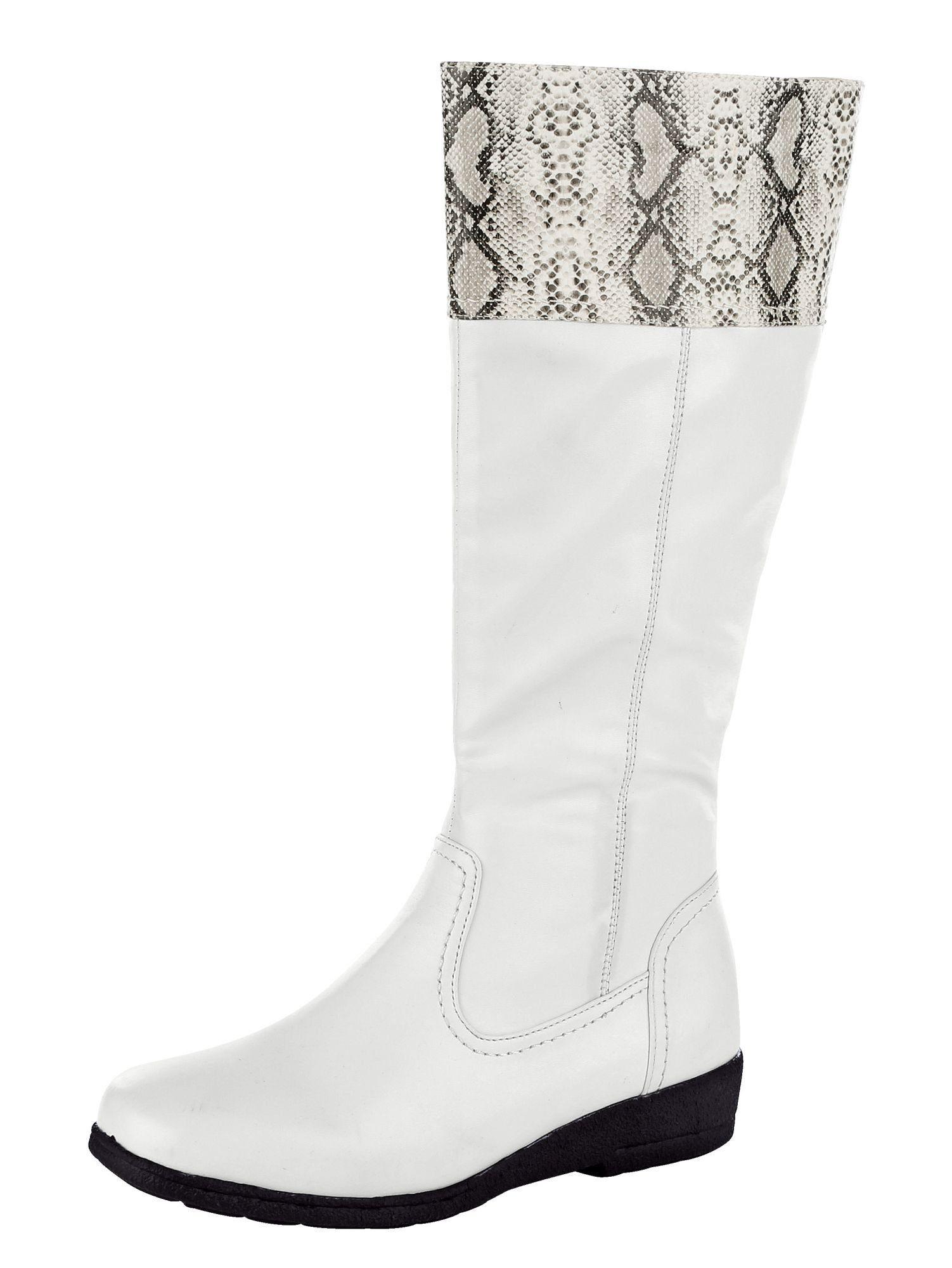 Mae&Mathilda Stiefel aus weichem Softmaterial  weiß schlange