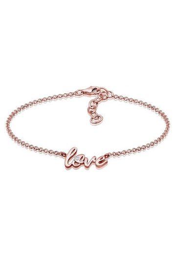 Elli Armband »Love Wording Swarovski® Kristalle 925 Silber Cute«