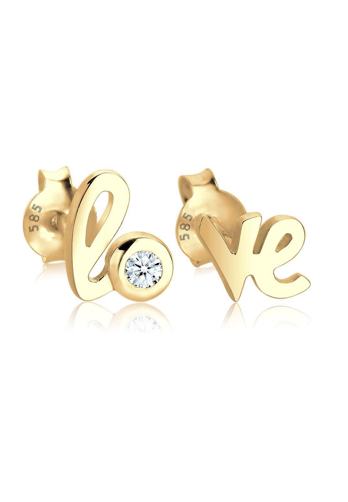 Diamore Paar Ohrstecker »585 Gelbgold Love-Schriftzug Diamant«