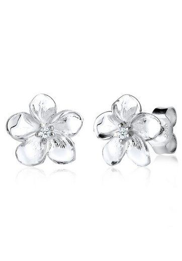 Diamore Paar Ohrstecker »Frangipani Blüte Diamant Blume Blüte 925 Silber«