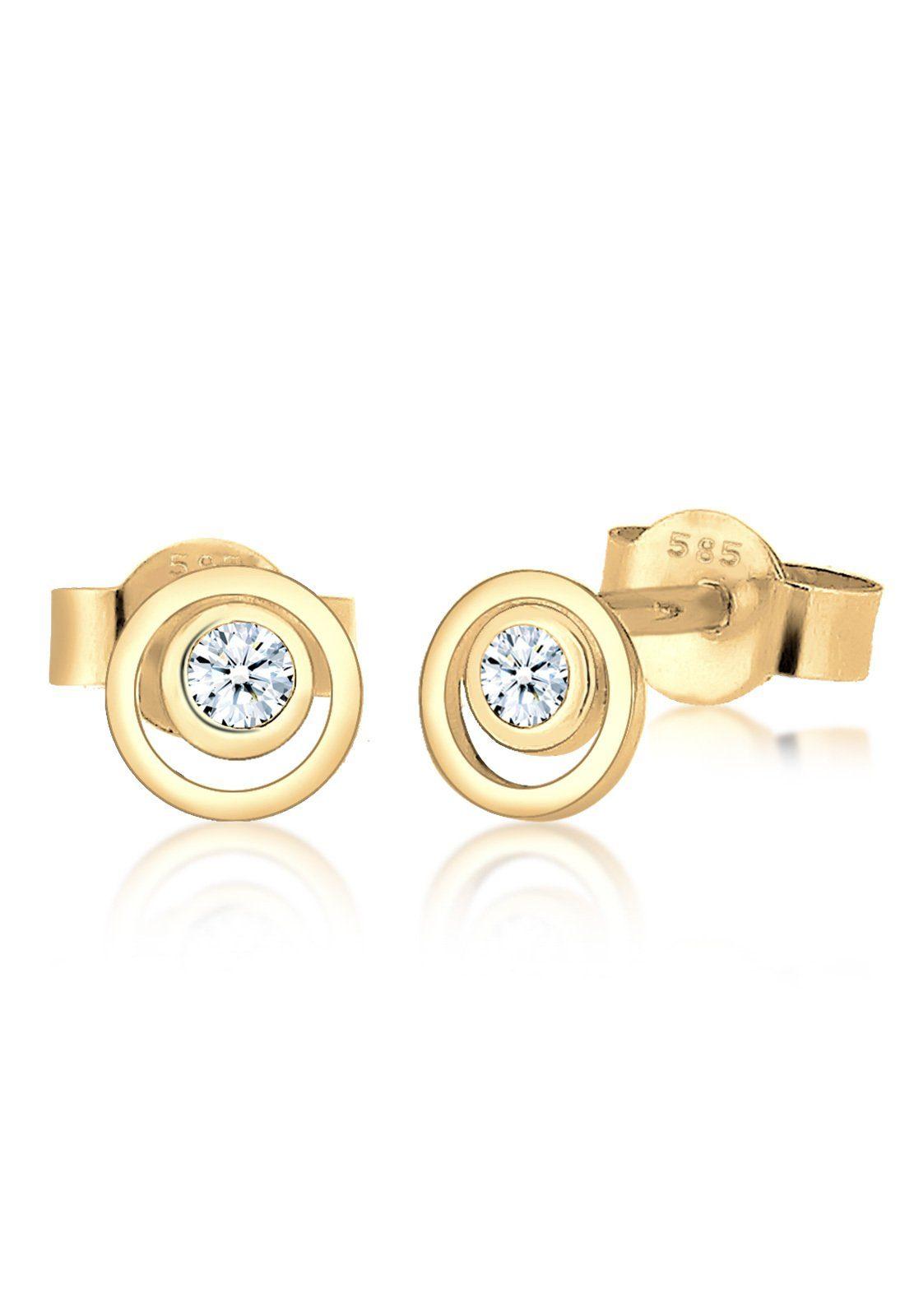 Diamore Paar Ohrstecker »Kreis Layer Diamant Hochwertig 585 Gelbgold«