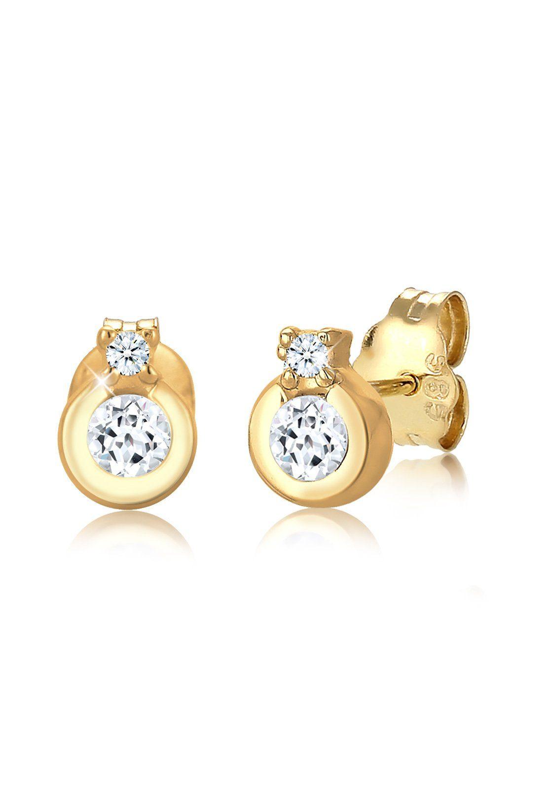 Diamore Paar Ohrstecker »Klassik Kreis Topas Diamant (0.04ct) 585 Gelbgold«