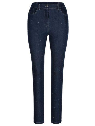 MIAMODA Jeans mit Strasssteinen besetzt